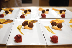 Plating at a pop-up dinner event