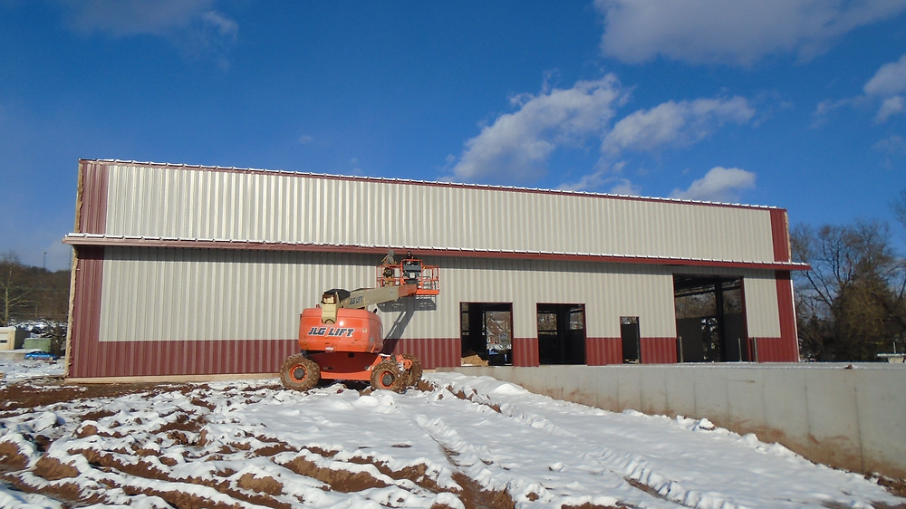 Closed Side of the Pre-engineered Steel Building at Raber's Tires