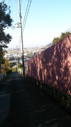purple fence slopeway