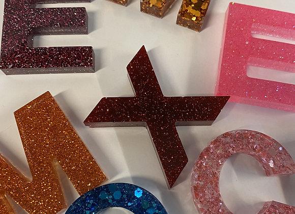 Glitter Resin Initial Key Chain