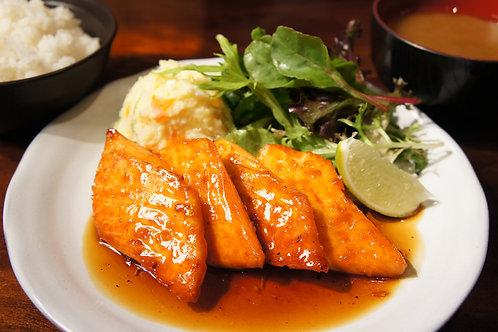 Teriyaki Salmon Plate (Rice, Miso soup)
