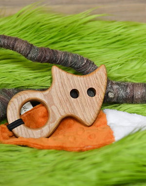 Wood Fox Teether with Crinkle Tail