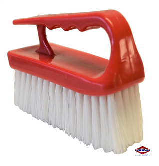 """6"""" Synthetic Iron Style Scrub Brush, Red"""