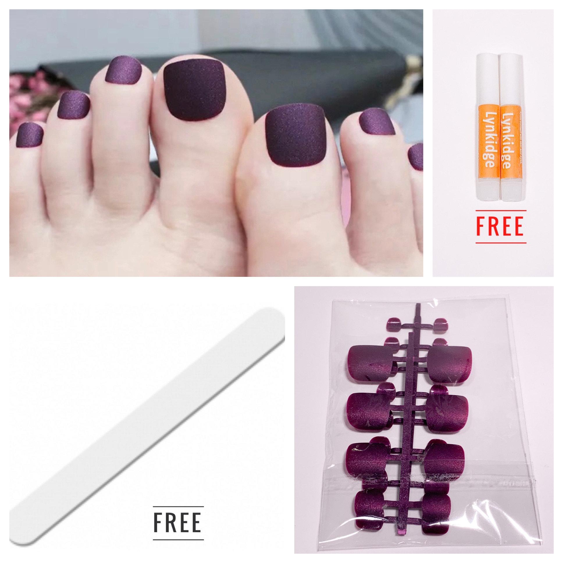 24pcs Matte Toe Full Nails - Purple | Lynkidge