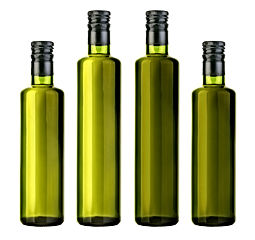 olive oil bottle isolated on white with