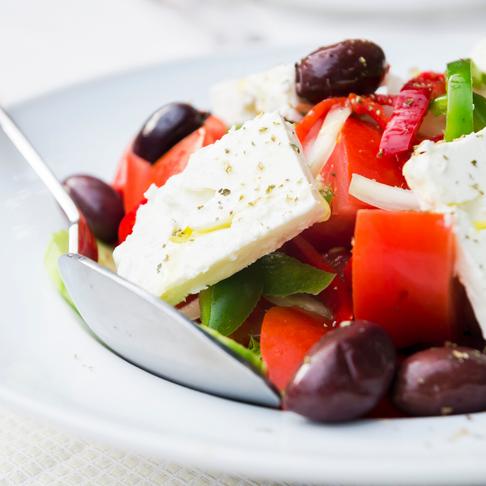 Horiatiki Salad, Greece on a dish