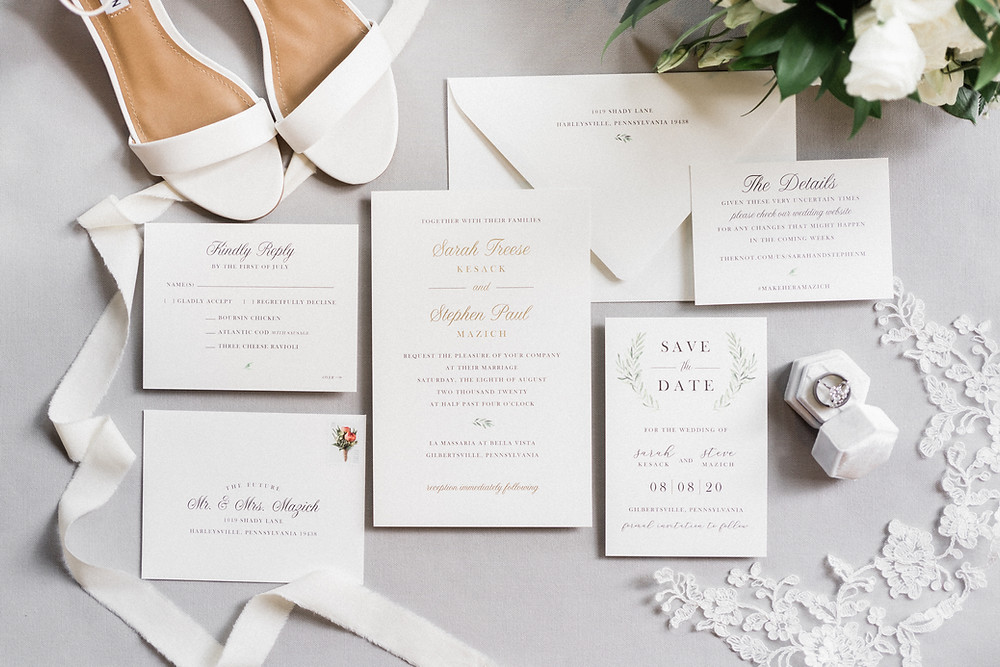 Gold Foil and Greenery Wedding Invitations and Save the Dates