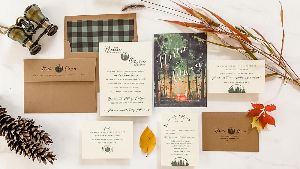 Camping Wedding Invitation Suite