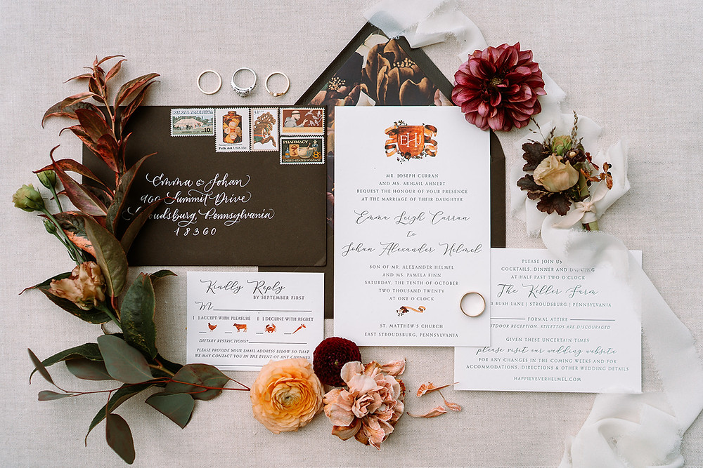 wedding stationery for fall Philadelphia wedding