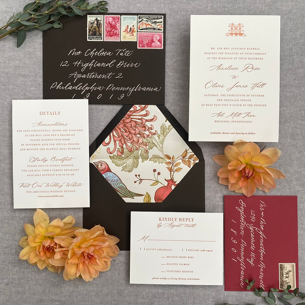 Fall Wedding Stationery suite by Stone Hill Paperie