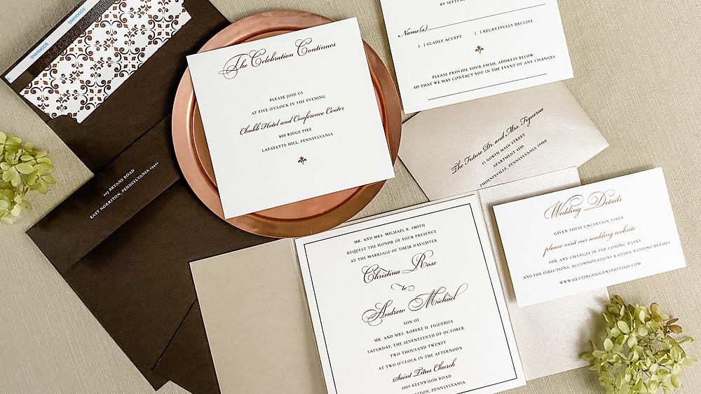 elegant autumn wedding invitations with copper metallics