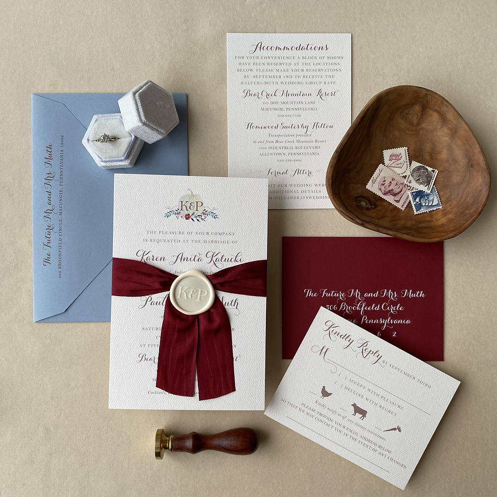 Bear Creek Mountain Wedding Invitation Suite