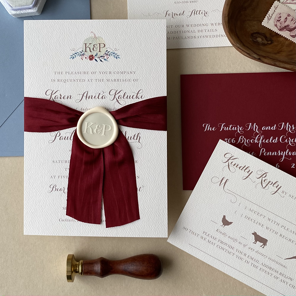 dusty blue and cranberry rustic wedding invitation