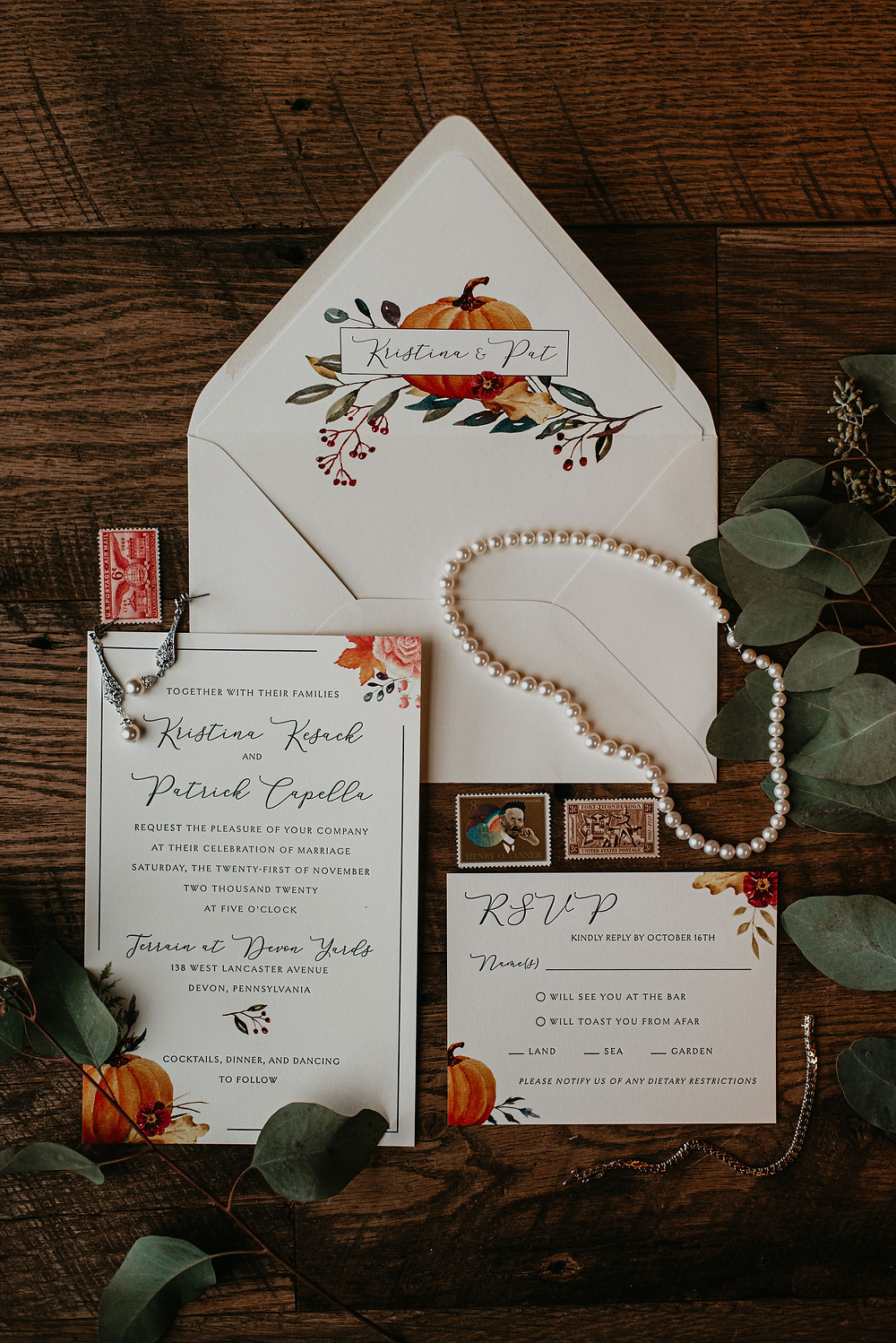 Fall wedding stationery with pumpkin motif by Stone Hill Paperie