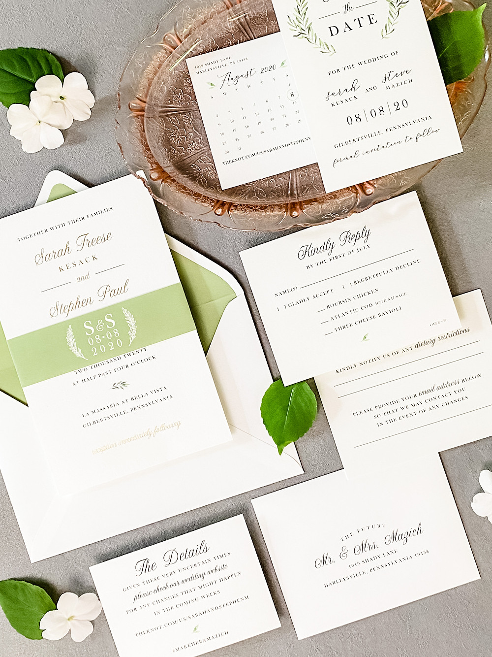 Gold and Greenery Invitations