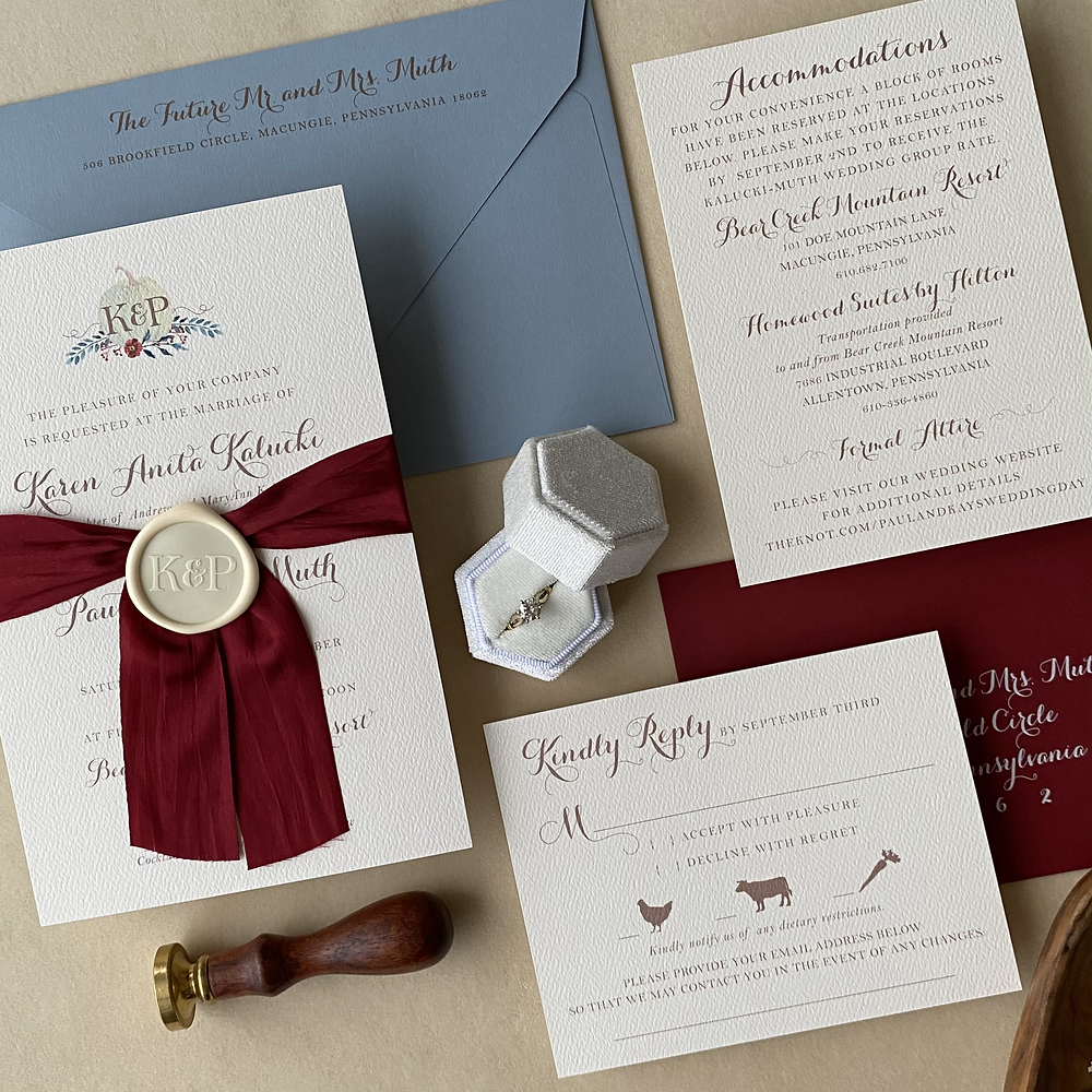 Rustic Wedding Invitations on Textured Paper