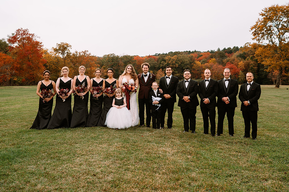 fall wedding large bridal party