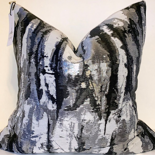 Metallic Onyx Abstract Pillow