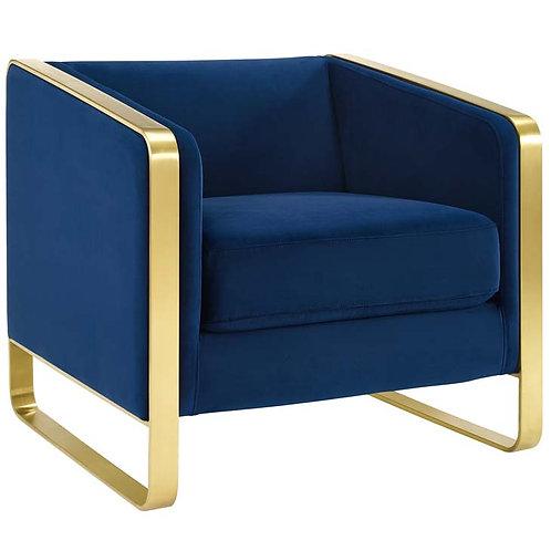 Navy Accent Club Lounge Performance Velvet Armchair