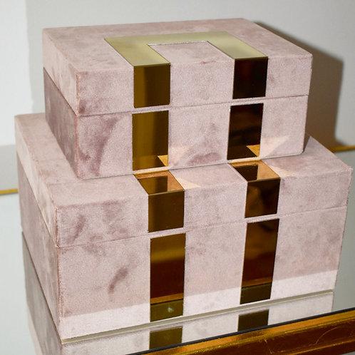 Velveteen Jewelry Box in Blush (Set of 2)