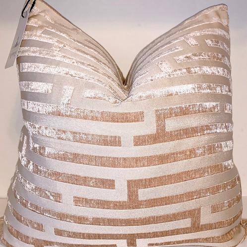 Blonde Maze Greek Key Velvet Pillow