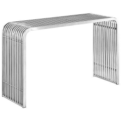 Stainless Steel Console Table in Silver