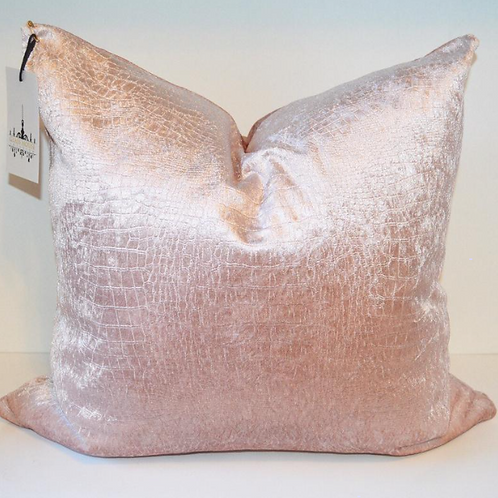 Blush Croc Velvet Pillow