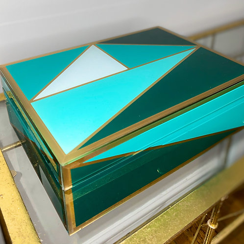 Green Mint and Gold Glass Box
