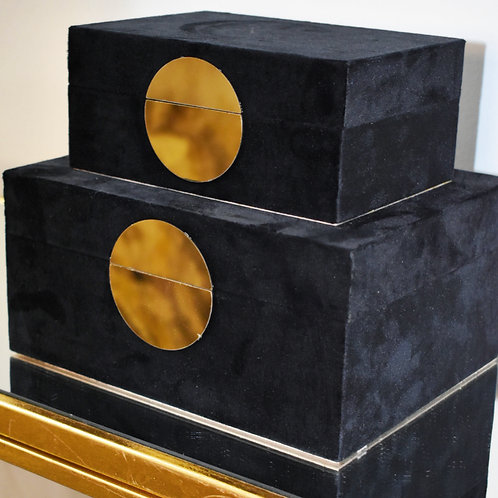 Velveteen Storage Box in Black (Set of 2)