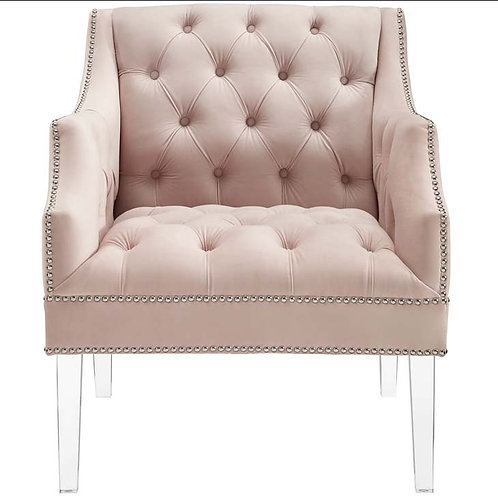 Blush Tufted Buttoned Accent Chair