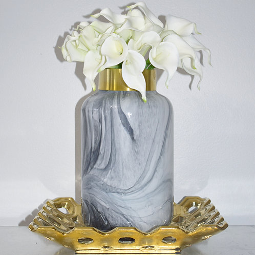 Glass Gray and Gold Vase