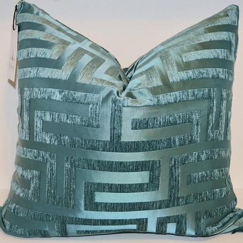 Teal Greek Key Velvet and Satin Pillow