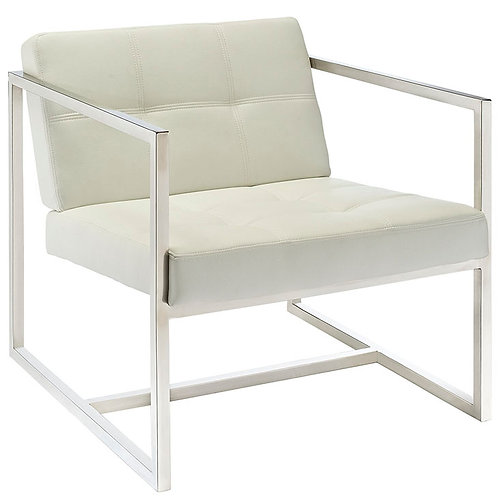 White Vinyl Lounge Chair
