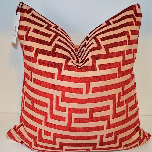 Red Desire Greek Key Velvet Pillow