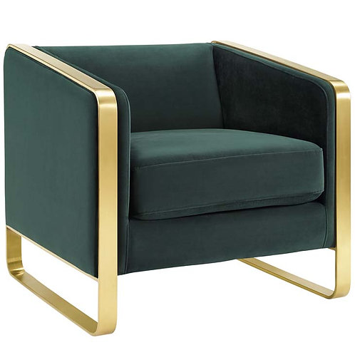 Green Accent Club Lounge Performance Velvet Armchair