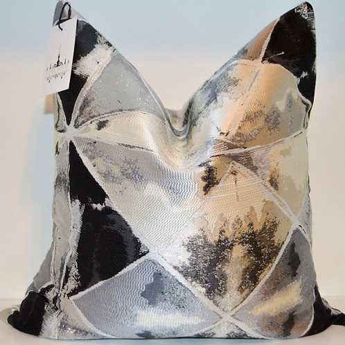 Outer Space Onyx Black and Silver Metallic Pillow