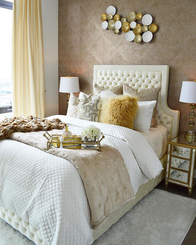 Glam for breakfast anyone_ This master bedroom transformation is complete. We gave our client the li
