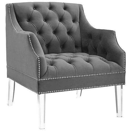 Gray Tufted Buttoned Accent Armchair