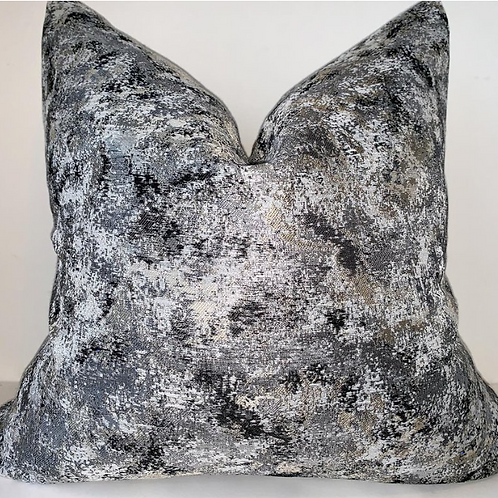 Scattered Ice Black and Silver Metallic Pillow