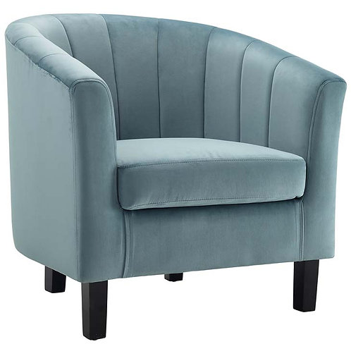 Tufted Upholstered Armchair in Light Blue