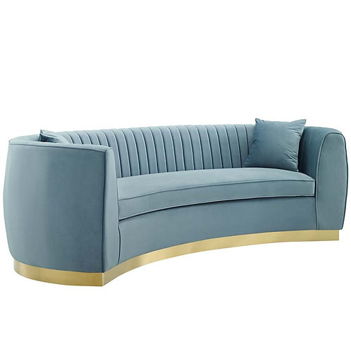 Light Blue Vertical Channel Performance Velvet Sofa
