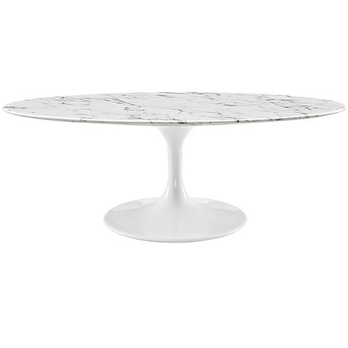 "Faux Marble 48"" Oval Coffee Table"