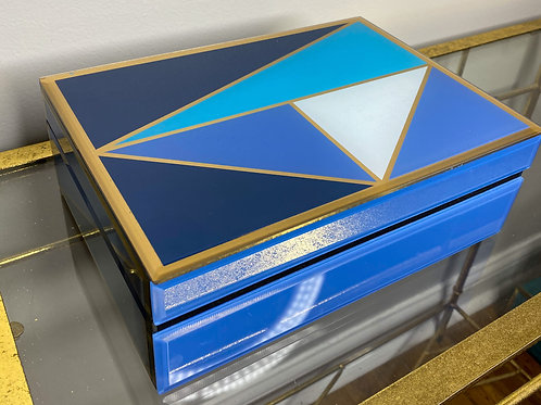 Blue Gold and White Geo Glass Box