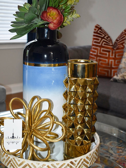 Blue Ombre and Gold Vase