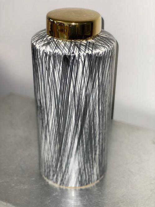 Black White and Gold Jar