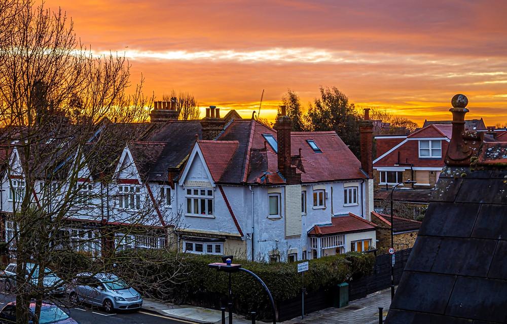 Sunset in London suburb area, UK