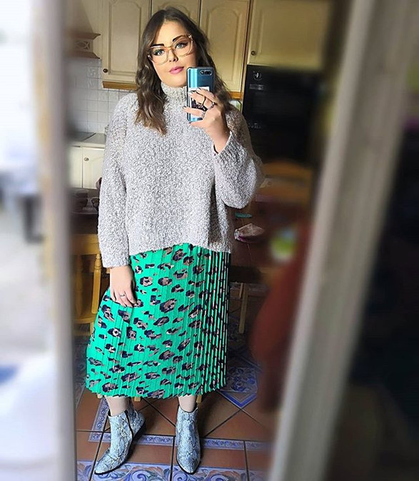 Printed midi skirts and comfy jumpers