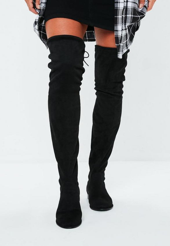Suede over the knee boots.