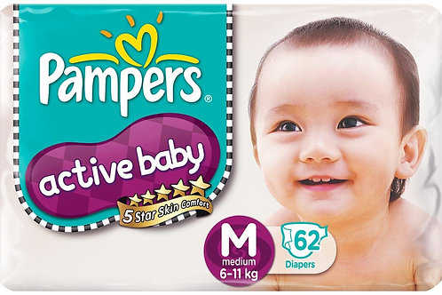 PAMPERS ACTIVE BABY DIAPERS M 62S