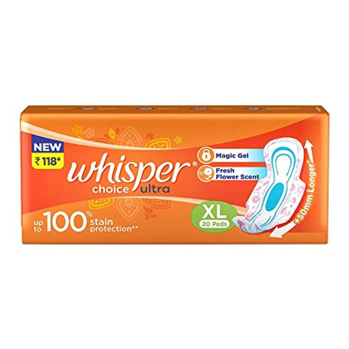 WHISPER CHOICE ULTRA WINGS SANITARY PADS XL 20S